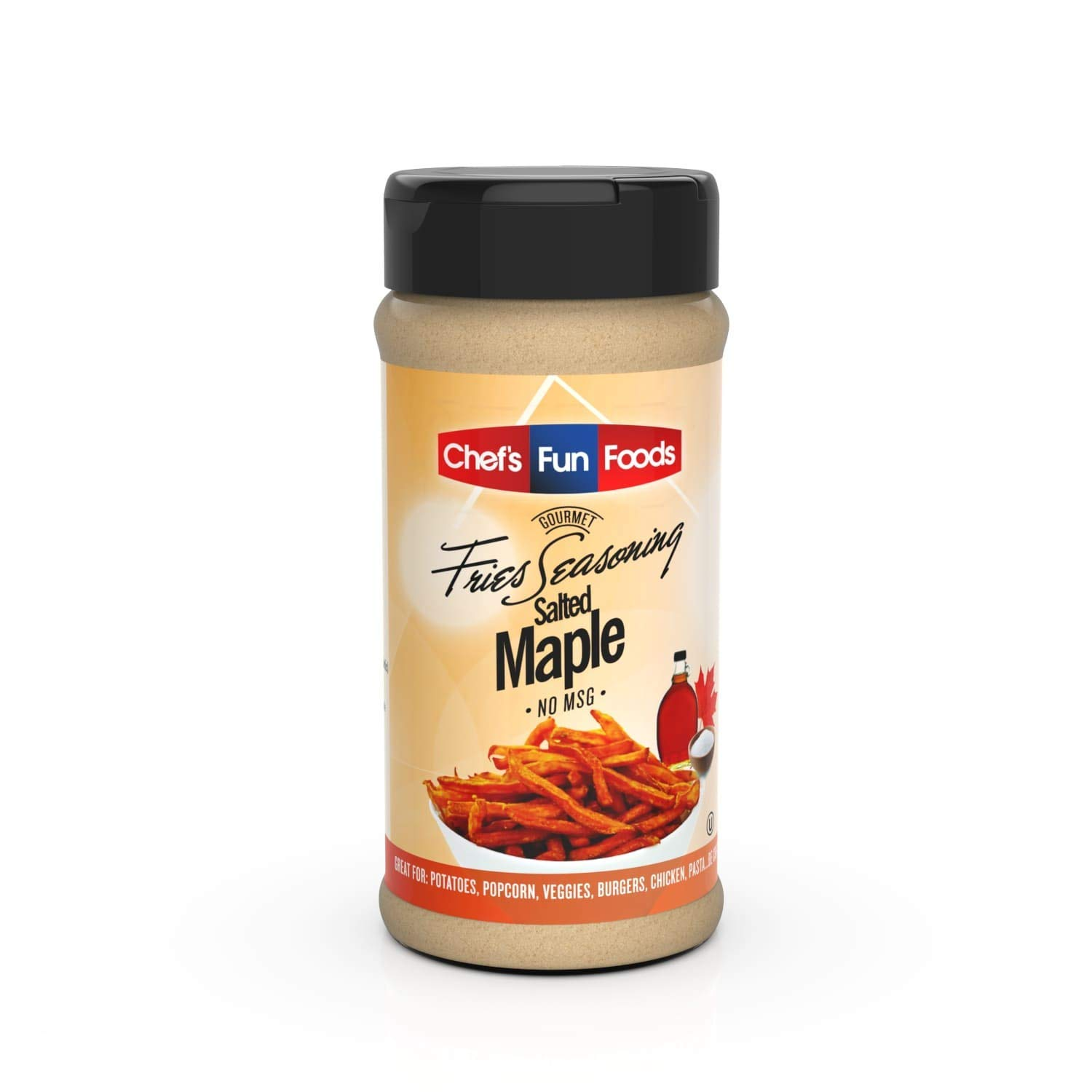 Chef's Fun Foods - Gourmet Fries Seasoning & Rub Mix (Salted Maple Flavor 12 OZ) | Kosher Food for Restaurants and Home Cooks | No MSG or Fillers | Great for Fried Foods, BBQ, Chicken Wings & More