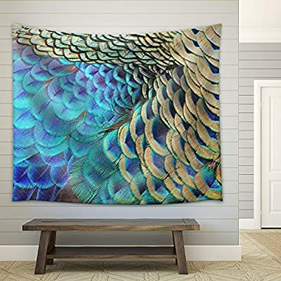 Amazing Piece of Art, Beautiful Green Peacock Feathers Texture Abstract Background Fabric Wall, Professional Creation