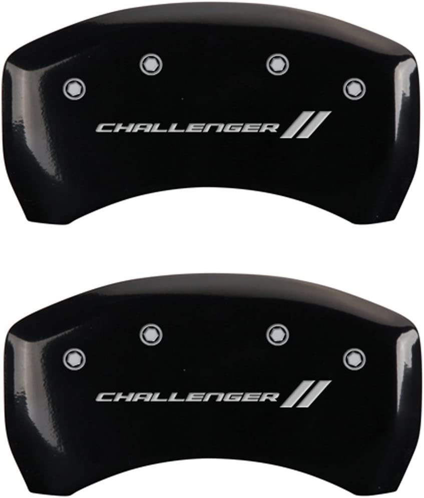 Set of 4 MGP Caliper Covers 12162SCL1BK Challenger ll Engraved Caliper Cover with Black Powder Coat Finish and Silver Characters,