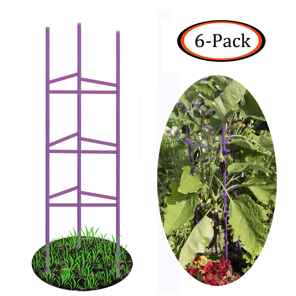 Growsun 5-ft Purple Tomato Supports Cage Plant Garden Stakes,6 Pack