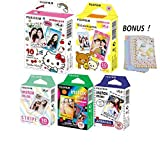 Fujifilm Instax Mini Film 5 Pack Bundle! Hello Kitty, Rilakkuma, Rainbow, Airmail, Stripe 10 X 5 = 50 Sheets Assort Set with Colorful Film Decor Sticker!