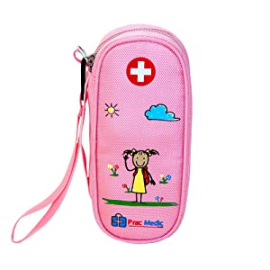 PracMedic EPIPEN Case for Girls, Insulated - Holds 2 Epi Pens or Auvi-Q, Asthma Inhaler, Generic Benadryl Small, Nasal Spray, Eye Drops, Medicine, Syringes, or Ice Pack- Sold Empty (Pink)