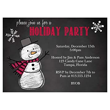 Snowman Holiday Party Invitations Christmas Party Invites Chalkboard Blackboard Xmas Snow Man Winter Red Snowflakes 10 Count