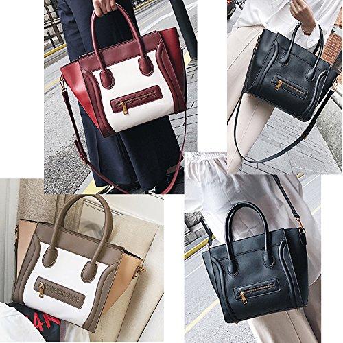Le Interessante Individualità Pu Di Spalla Signore Sacchetto Borse Volto Messaggero Bag Del Greywhite Delle Sorridente Leather Modellazione Donne Modo Per rwxFHrqp