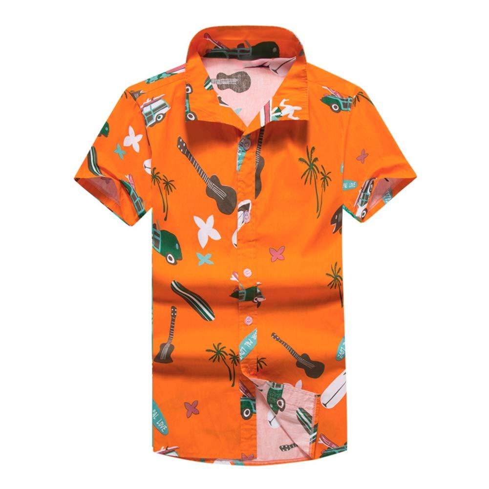 QHF Mens Hawaiian Printed Shirt Men Animal Print Short Sleeve Beach Shirt Asian-Size4,5XL