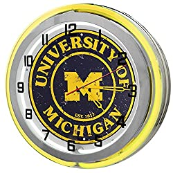 University Of Michigan Wolverines Yellow 18 Double Neon Clock from Redeye Laserworks