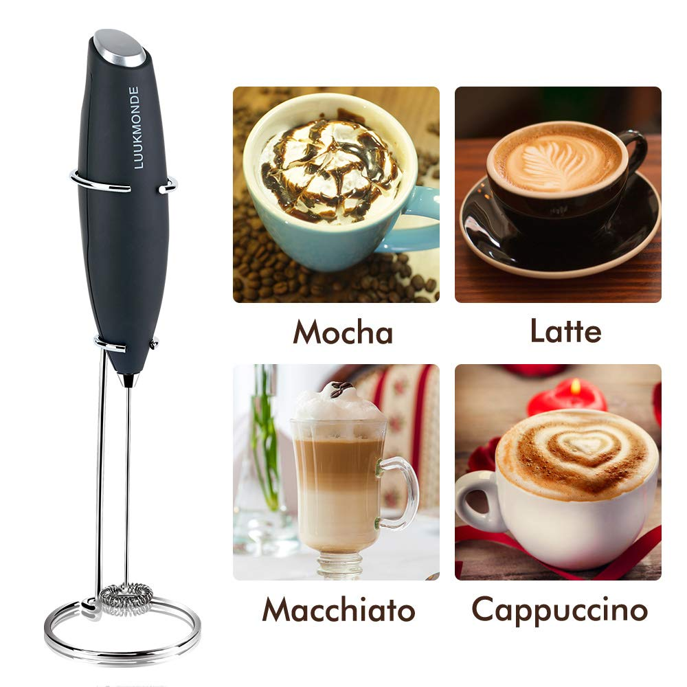 Milk Frother Electric Handheld Milk Steamer Coffee Stirrer Foam Maker Automatic Powerful Drink Mixer Stainless Steel Whisk & Enhanced Stand Ideal for Latte Cappuccino Hot Chocolate by LUUKMONDE(Black)