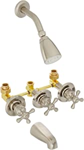 Kingston Brass KB238AX Tub and Shower Faucet with 3-Cross Handle, Brushed Nickel