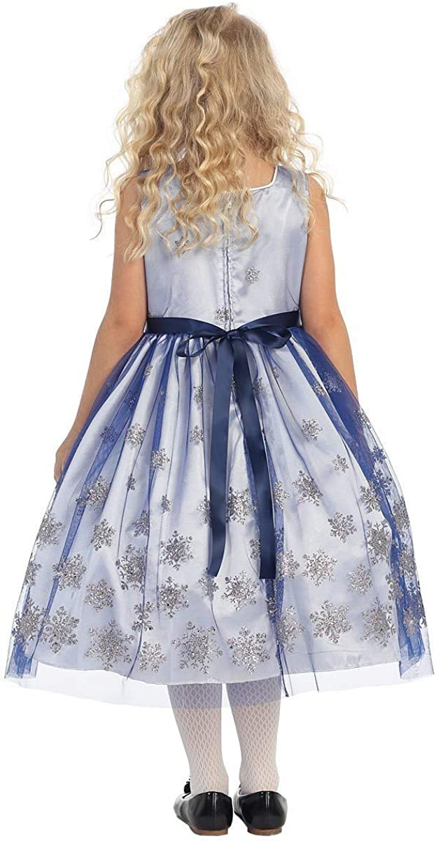 Angels Garment Big Girls Royal Blue Brooch Snowflake Christmas Dress 7-12