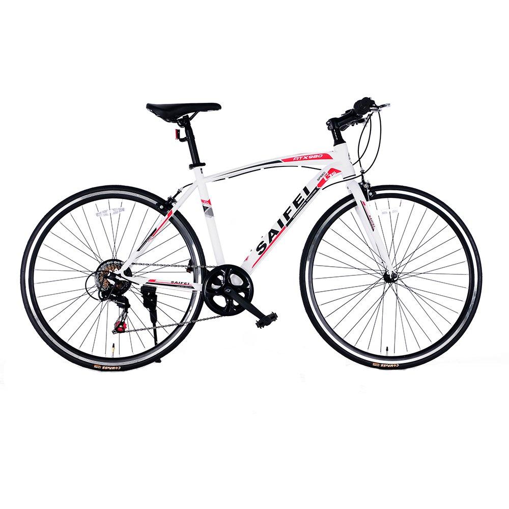 クロスバイク 自転車 軽快車 スピード 700C 7段変速 軽量高炭素鋼フレーム おしゃれ スタイリッシュ 適用身長155cm以上 初心者 街乗り 通勤 通学 ライトと鍵 入学 就職 お祝い RS-02 B07D5429C5 ホワイト ホワイト