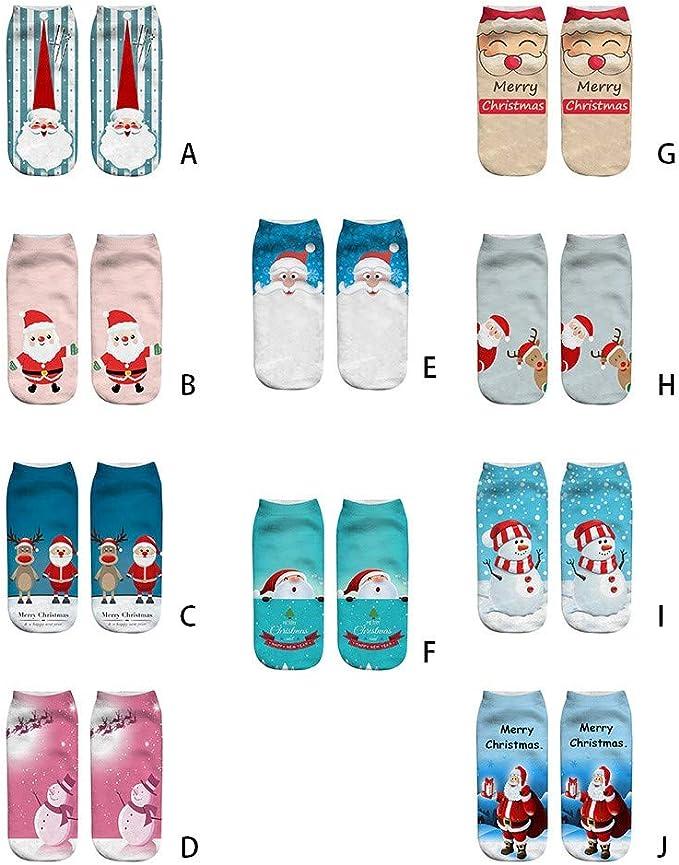 YWLINK Herren Damen Niedlich Niedrig Schnitt S/öCkchen Weihnachten Komisch 3D Mode Drucken Beil/äUfig Socken Unisex