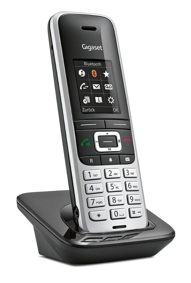 Gigaset S850A GO Tel/éfono Tel/éfono DECT, 500 entradas, Identificador de Llamadas, Servicios de Mensajes Cortos , Negro, Platino SMS