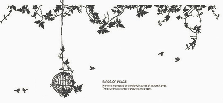 K-Art.Japan ウォールステッカー Garden of Bird ブラック GSN-0320-BK B00QPTJOHU