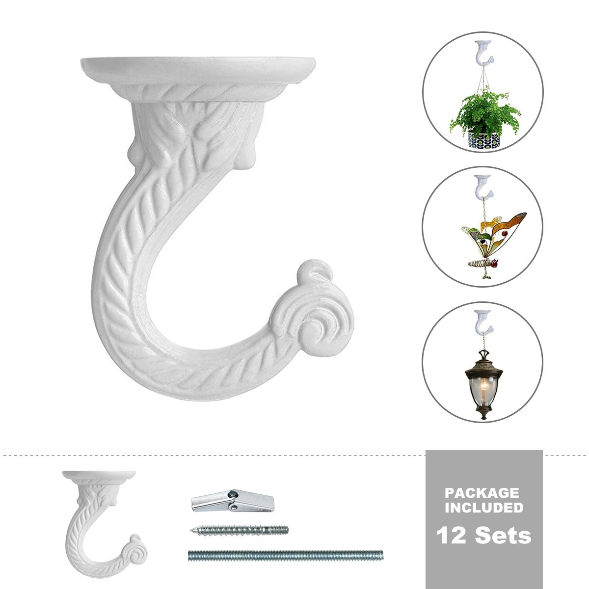 Plant Ceiling Hooks,UDGTEE Pack of 12 Complete Sets Heavy Duty Metal Ceiling Hooks,Swag Hooks with Steel Screws/Bolts and Toggle Wings,White Enamel Finish (HE-ZYO0026)