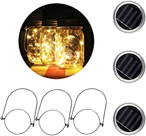 [3 Pack]MTZRFLL Solar Powered Mason Jar Lids Lights,20 LEDs Fairy Portable Lanterns,3 Stainless Steel Hangers(Jars NOT Included),for Patio,Garden,Christmas,Wedding,Windowsill (Warm White)