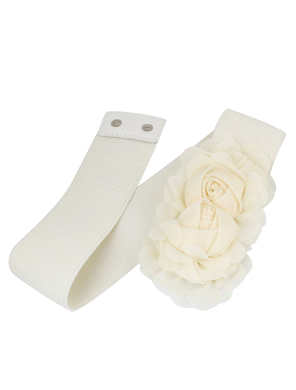 Woman Double Flower Decor Press Button Buckle Stretch Waist Belt