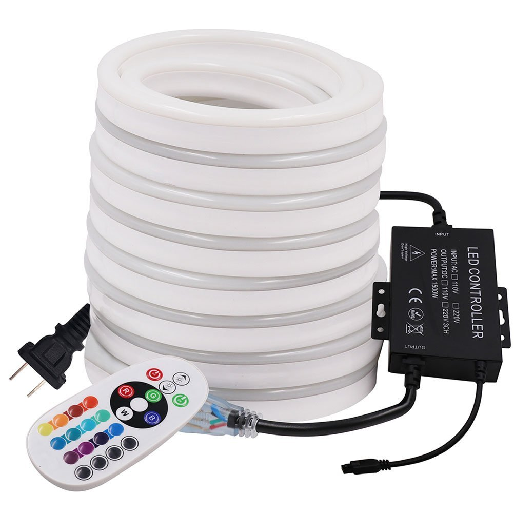 XUNATA 99ft LED Neon Lights, AC 110-120V 120 LEDs/M Flexible Dimmable Waterproof 2835 SMD LED Rope Strip Light with 1500W 24Key Remote Controller for Party Decoration