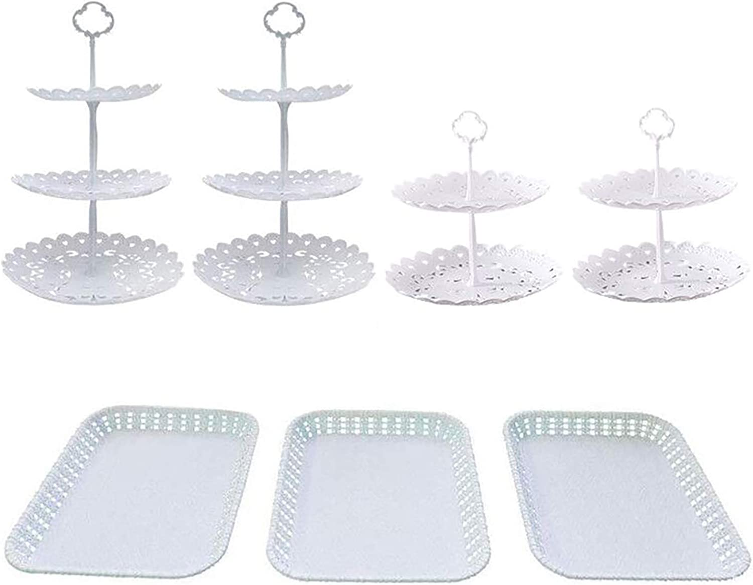 Christmas Wedding Party Cake Cupcake Stand with 7Pcs 3-Tier Round +2-Tier Round Food Server Display Stand and 3 Rectangle Plastic Serving Trays