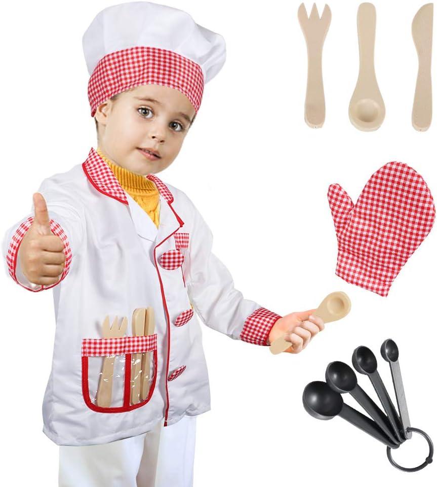 Tacobear Chef Disfraz para niños Chef Accesorios Cocinero Disfraz ...