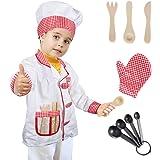 Tacobear Chef Costume Bambino Chef Gioco Accessori Travestimento Capocuoco  Costume di Ruolo Bambini per Natale Halloween 110474bc7461