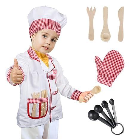 Tacobear Chef Costume Bambino Chef Gioco Accessori Travestimento Capocuoco  Costume di Ruolo Bambini per Natale Halloween b12c7fa7ece2