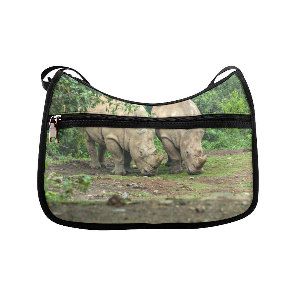 A Black Rhinoceros Mother And Calf Messenger Bag Crossbody Bag Large Durable Shoulder School Or Business Bag Oxford Fabric For Mens Womens