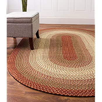 Super Area Rugs, Hartford Braided Indoor / Outdoor Rug Textured Durable Red Sunroom/Porch Carpet, 6 Round