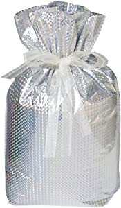 Gift Mate 21092-4 4-Piece Drawstring Gift Bags, Large, Diamond Silver