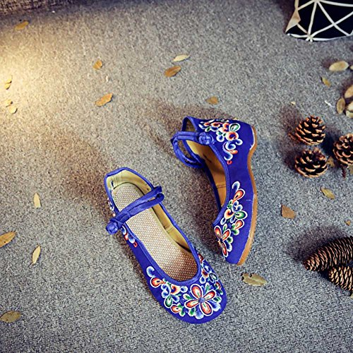 CHUANGLI Vintage Embroidery Flats Oxfords Sole Casual Mary Jane Shoes Ladies Strap Flats Shoes Blue 7m09V7DY