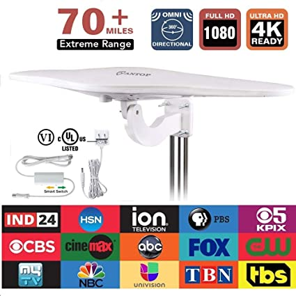 ANTOP 360° Omni-Directional Outdoor TV Antenna Enhanced VHF UHF Range with  Smartpass Amplified & Noise-Free 4G LTE Filter 70 Miles Range for