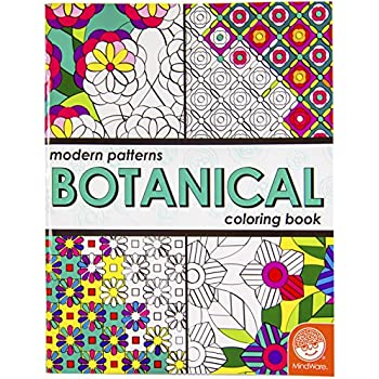 mindware modern patterns botanical coloring book 24 unique puzzles teaches creativity and fosters imagination