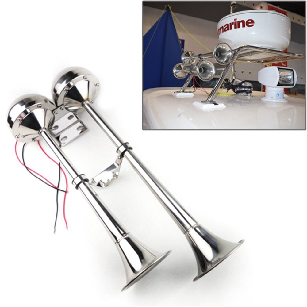 Marine Electric Double Horn Trumpet 12V Low and High Tone Stainless Steel Dual Trumpet for Boat Yacht Truck Car by Marinewsyx
