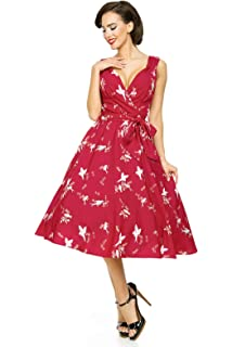 Looking Glam Ladies Retro Vintage 1950s Pin Up Rockabilly Swallow Bird Part Dress