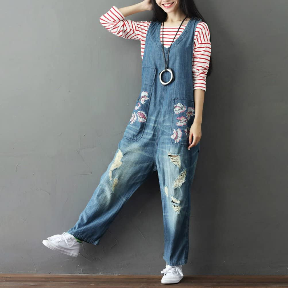 maydaiyar High Waist Jeans Plus Size Casual Rompers Womens Jumpsuit Print Denim Overalls