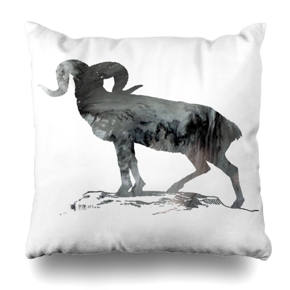 ONELZ Abstract Mountain Sheep Silhouette Square Decorative Throw Pillow Case, Fashion Style Zippered Cushion Pillow Cover (20X20 inch)