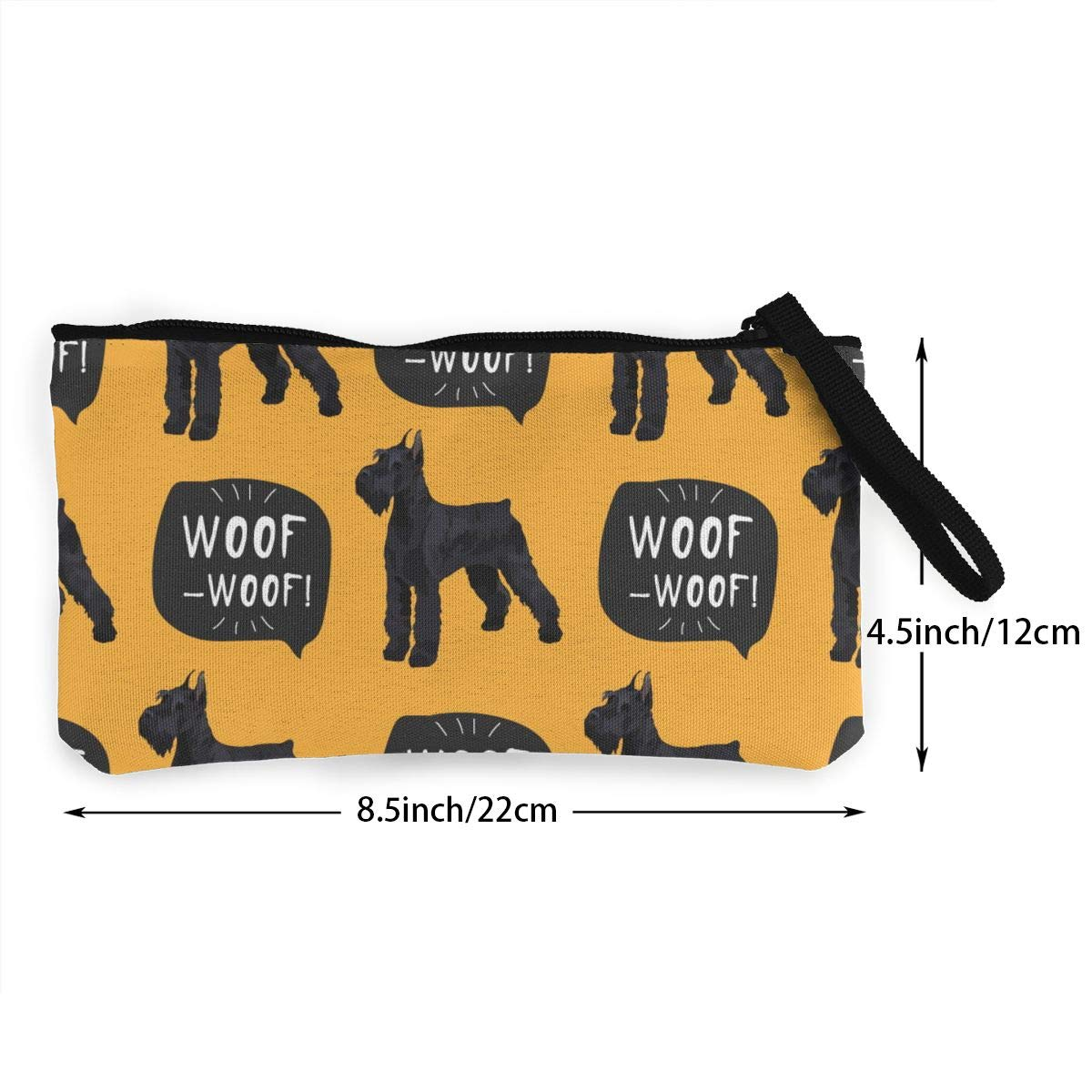 Woof Pattern Canvas Coin Purse Retro Change Cash Bag with Zip