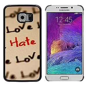 LECELL -- Funda protectora / Cubierta / Piel For Samsung Galaxy S6 EDGE SM-G925 -- Love Hate Pattern --
