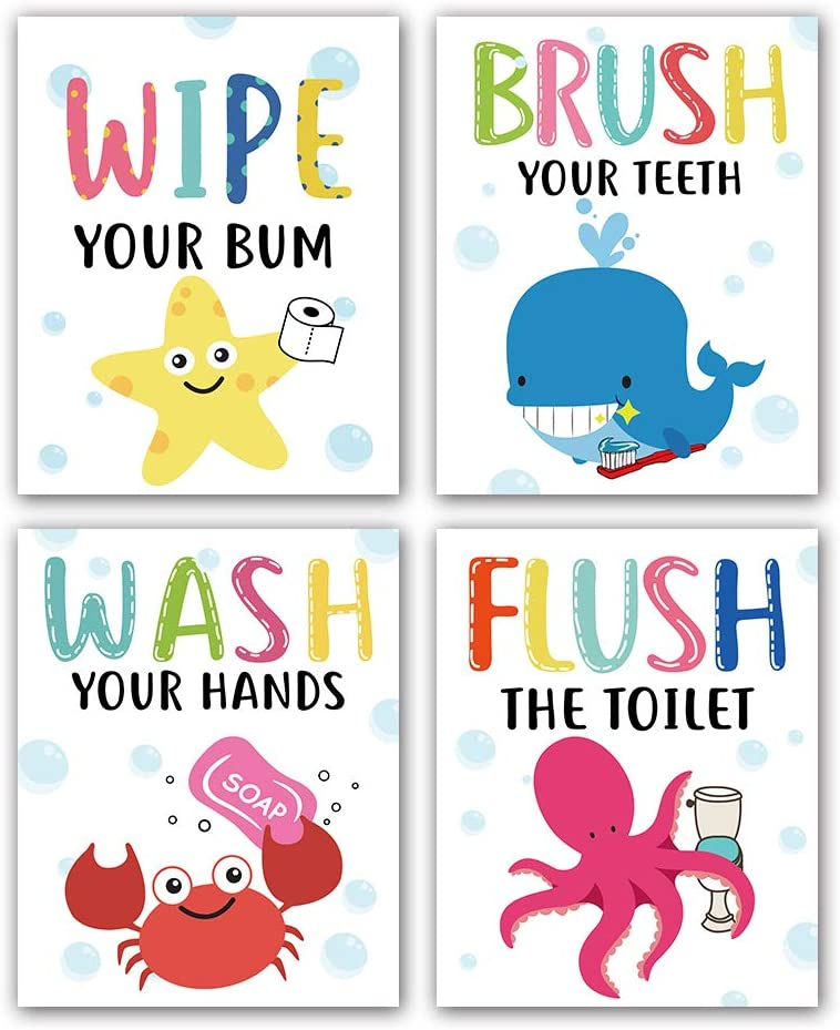 """Cartoon Sea Life Themed Bathroom Inspirational Quotes Art Print Humorous Quotes Painting, Toilet Rules Art Picture for Children Washroom Bathroom Decor, Set of 4 (8""""X10""""), No Frame, Colorful"""