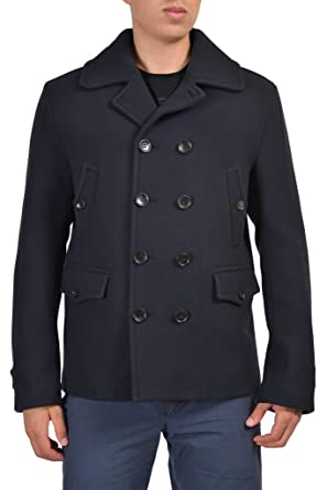 Amazon.com: Gucci Men's Navy Blue 100% Wool Double Breasted Pea ...