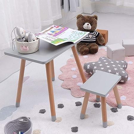 juego de mesa y silla Cuadrada para niños de Madera Maciza, Escritorio/Silla para bebés, Taburete, Mesa y Silla para Juegos de jardín de Infantes: Amazon.es: Hogar