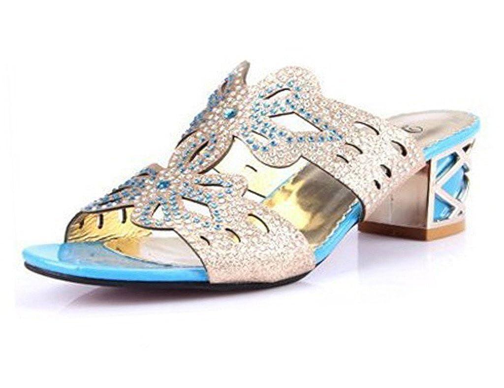 Minetom Donne Moda Elegante Estate Pantofole Finto Strass Fiore Farfalla Sandali Peep Toe Pantofol Azzurro A