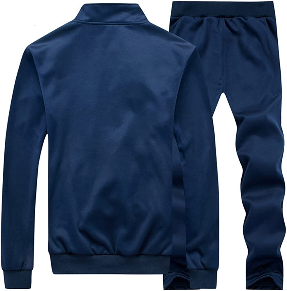 DUNKINBO Mens Athletic Tracksuit Full Zip Warm Jogging Sweat Suits