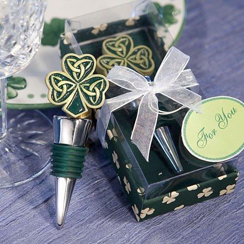 Luck of the Irish Green Shamrock Wine Beverage Bottle Stopper in Gift Box