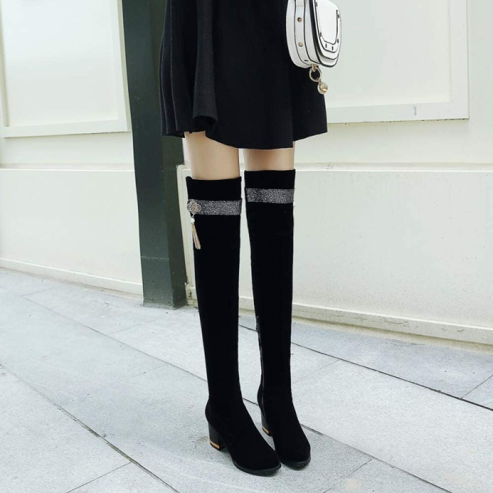 New Womens Thigh High Boots Ladies Over The Knee Zip Party Mid Heel Block