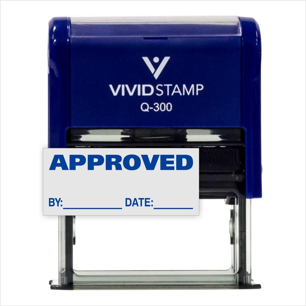 Red L APPROVED w// By Date Line Self-Inking Office Rubber Stamp