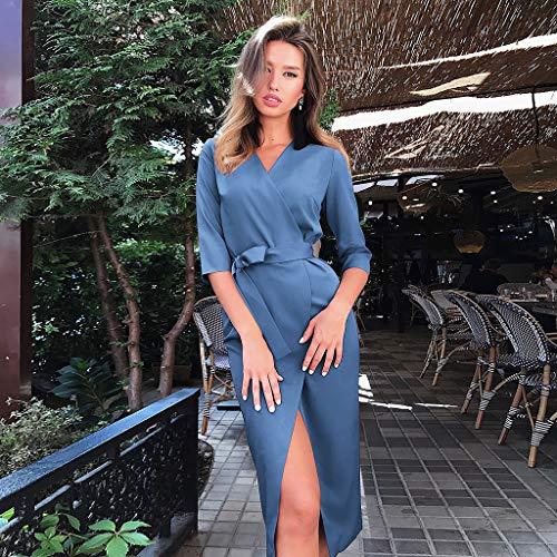 Ol V D'été Split Noir Sexy Party Avec 4 Dress Elégant Robes Slim Femmes Manches Amlaiworld Bodycon Col Bureau Robe Longue Cocktail Ceinture 3 Simple Fit Chic De Soirée 6fqSAnXx