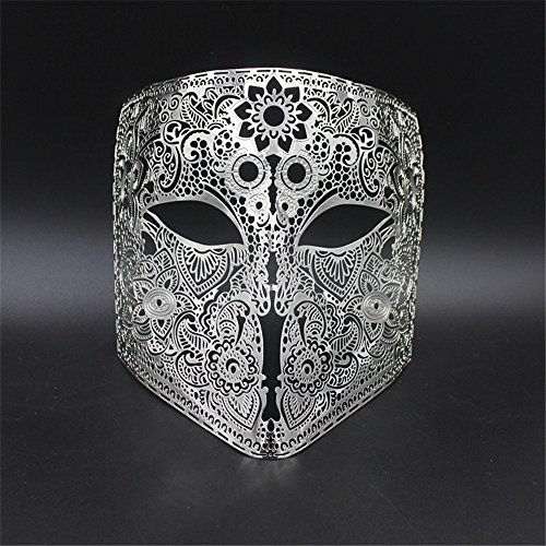 Face mask Shield Veil Guard Screen Domino False Front Grimace Makeup Mask Prom Venice Metal Full Face Show Halloween Party Mask Cosplay Men and Women Silver ()