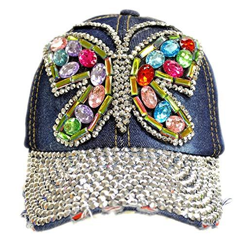 Forest & Twelfth Fashion Bling Baseball Cap Hat - Embellished w/Crystal Rhinestones and Faux Gemstones (Rainbow Butterfly)