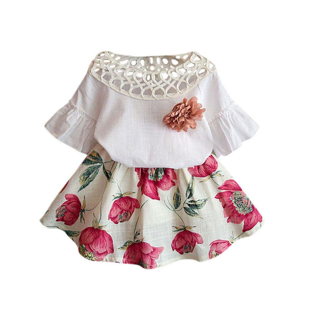 Muium Baby Girls Dresses Toddler Infant Short Sleeve Shirt + Flowers Skirt Set Outfits For 2-7 Years Old