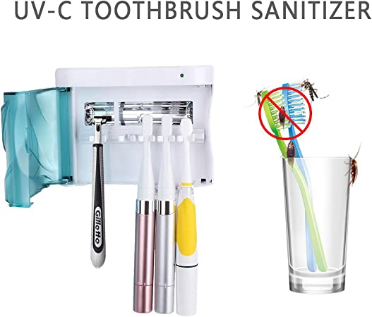 Avari Dual UV /& Heat Premium Toothbrush Sanitizer AC Adapter plus Toothpaste Holder Antibacterial Germ Free Sterilizer for Toothbrush and Razor Hygiene with Stand and Wall Mount Champagne Gold